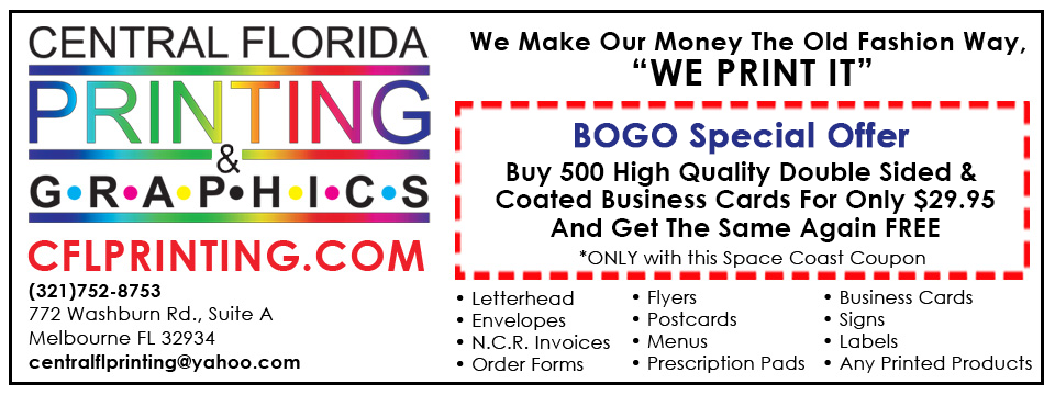 Space Coast Coupons Inc Online Coupons Bogo Business Cards